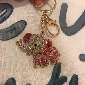 Accessories - Pink rhinestone elephant keychain NWOT bundle $2